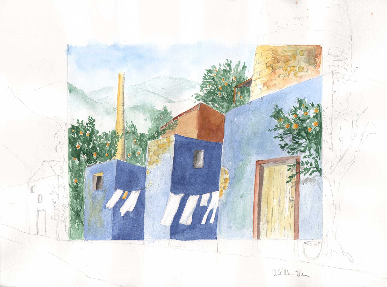 Dorfstraße in Manacor, Aquarell