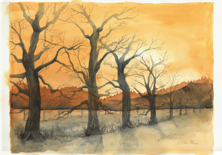 Winterabend Aquarell