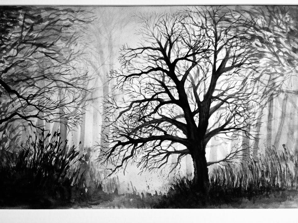 Wald im Abenddunst, Aquarell