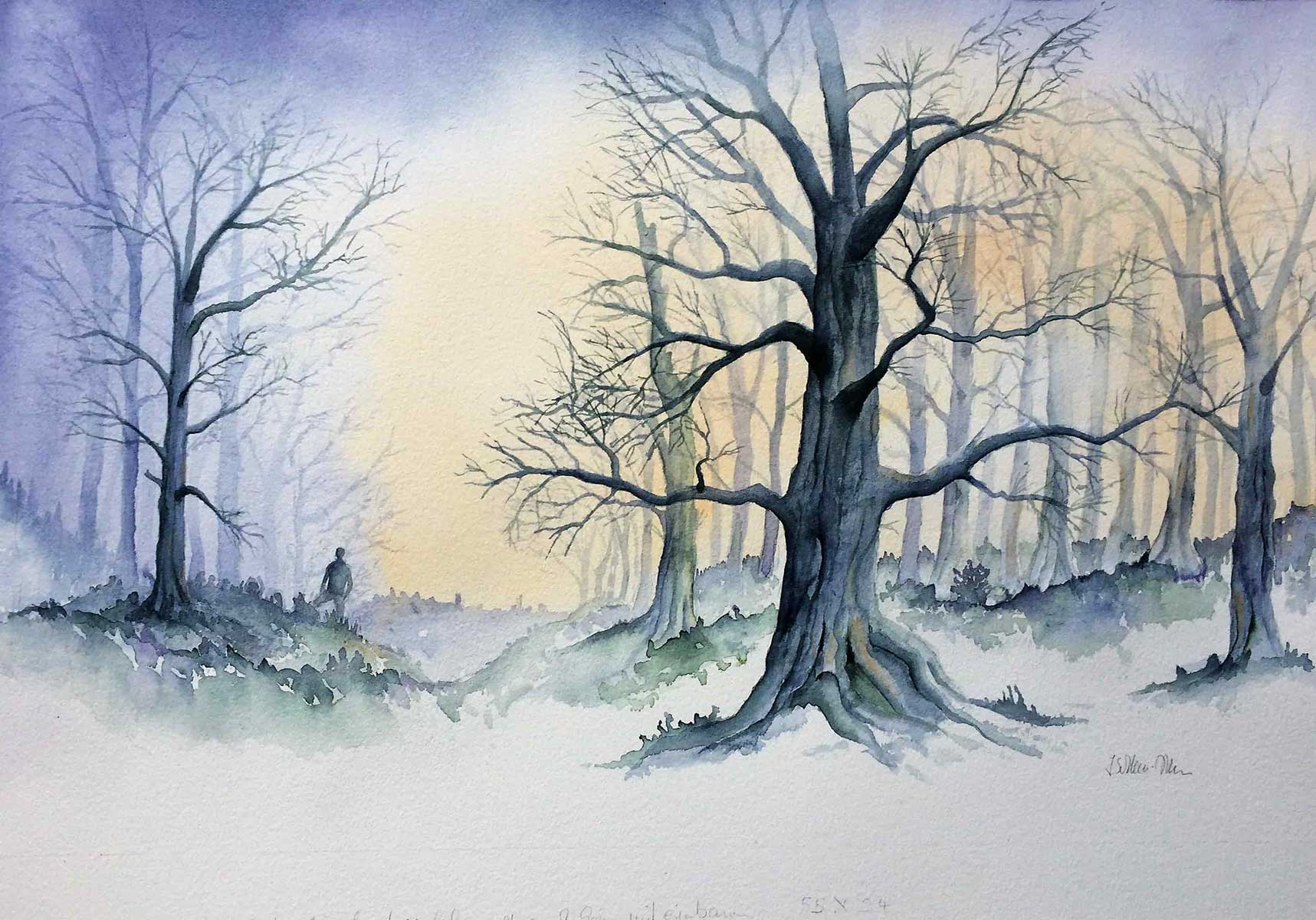 Winterwald, Aquarell