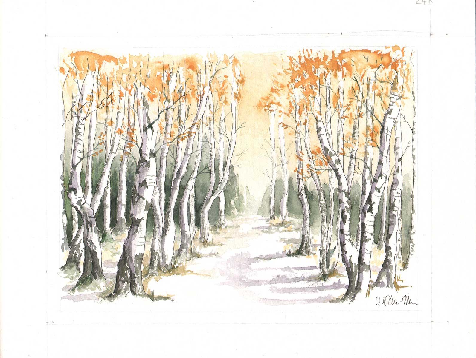 Birkenallee im Herbst, Aquarell