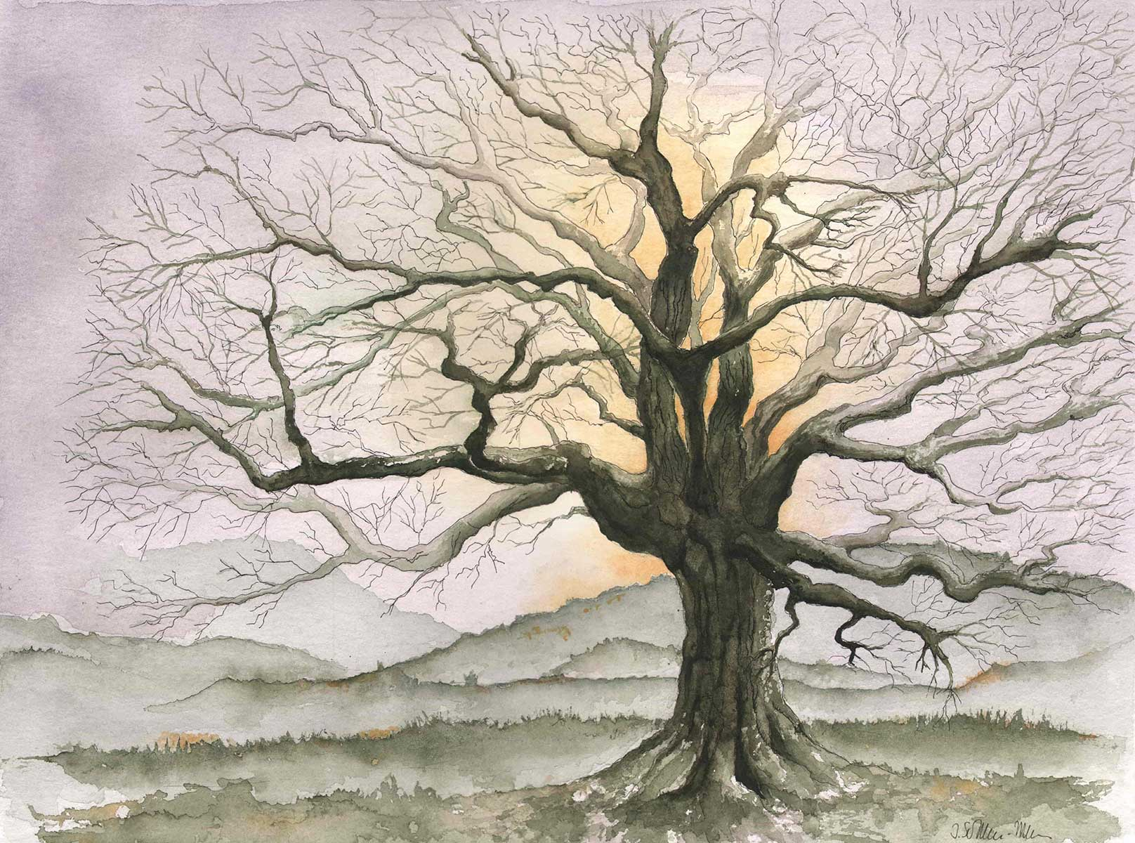 Kahler Baum im Gegenlicht, Aquarell
