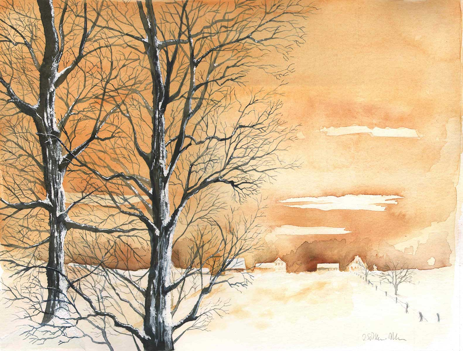 Winterlicher Abendhimmel, Aquarell