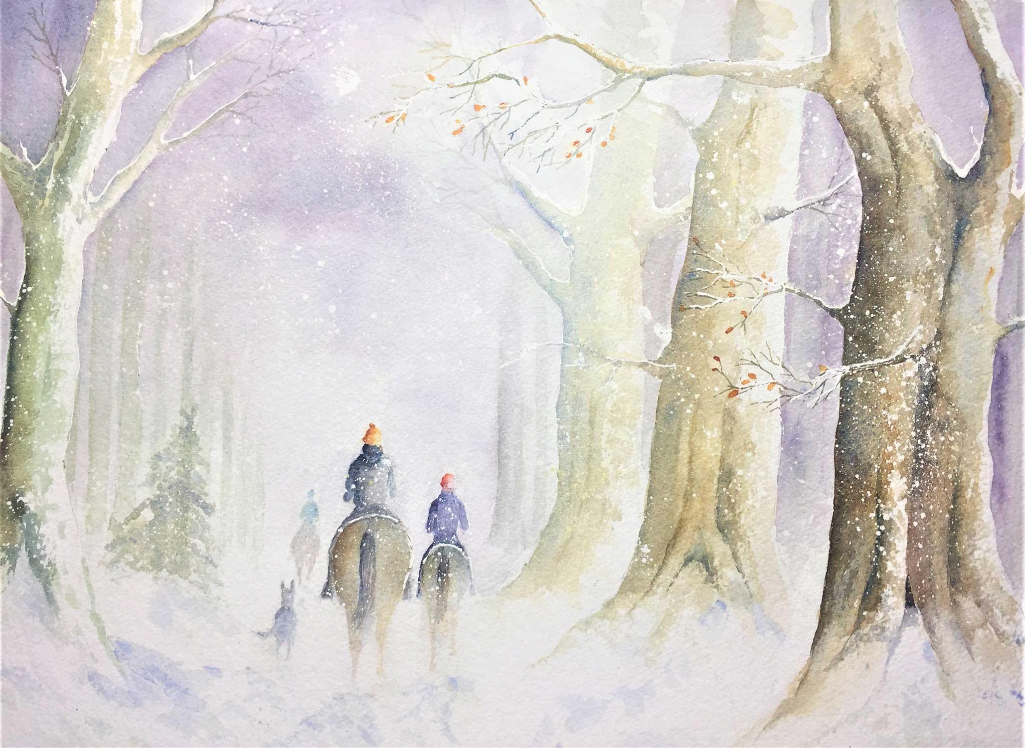 Pferdeduft im Schneewald, Aquarell