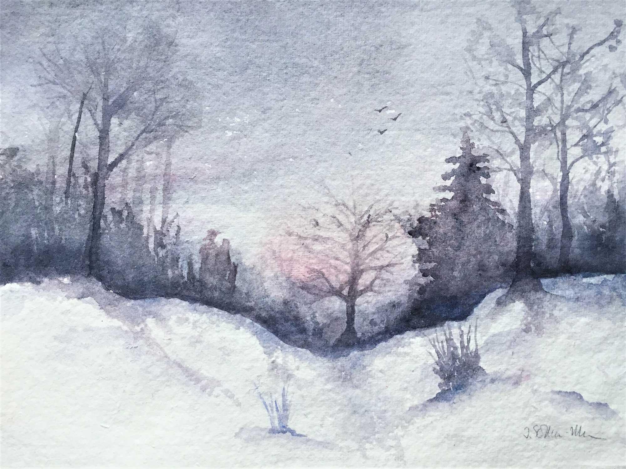 Winterabend in der Wankumer Heide, Aquarell